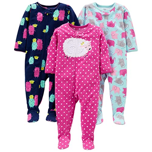 69e2f1be61bea Simple Joys by Carter's Baby and Toddler Girls' 3-Pack Loose Fit Fleece  Footed