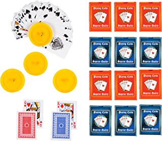 Playing Cards - 12-Deck Poker Cards Size Standard Index Playing Cards with 6 Blue and 6 Red and 4 Hands-Free Yellow Plastic Playing Card Holder in Circular Shape