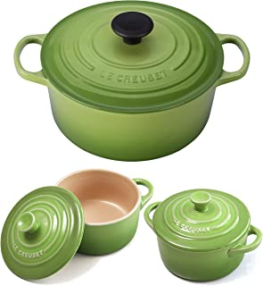 Le Creuset Signature Palm Enameled Cast Iron 4.5 Quart Round French Oven with 2 Free Stoneware Cocottes