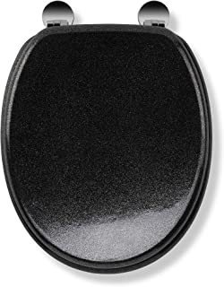 Croydex Flexi-Fix Quartz Always Fits Never Slips Toilet Seat, Wood, Black, 44.5 x 38 x 6 cm