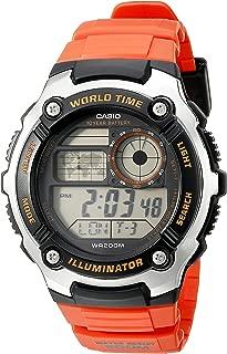 Men's AE-2100W-4AVCF Digital 10-Year Battery Digital Display Quartz Orange Watch