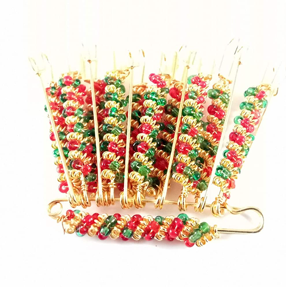Sarvam Decorative Safety Pins Saree Pins Brooch One Side of Safety Pin Decorated with Red & Green Beads Set of 12