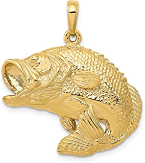 Solid 14k Yellow Gold Jumping Largemouth Bass Fish Pendant 30x27mm