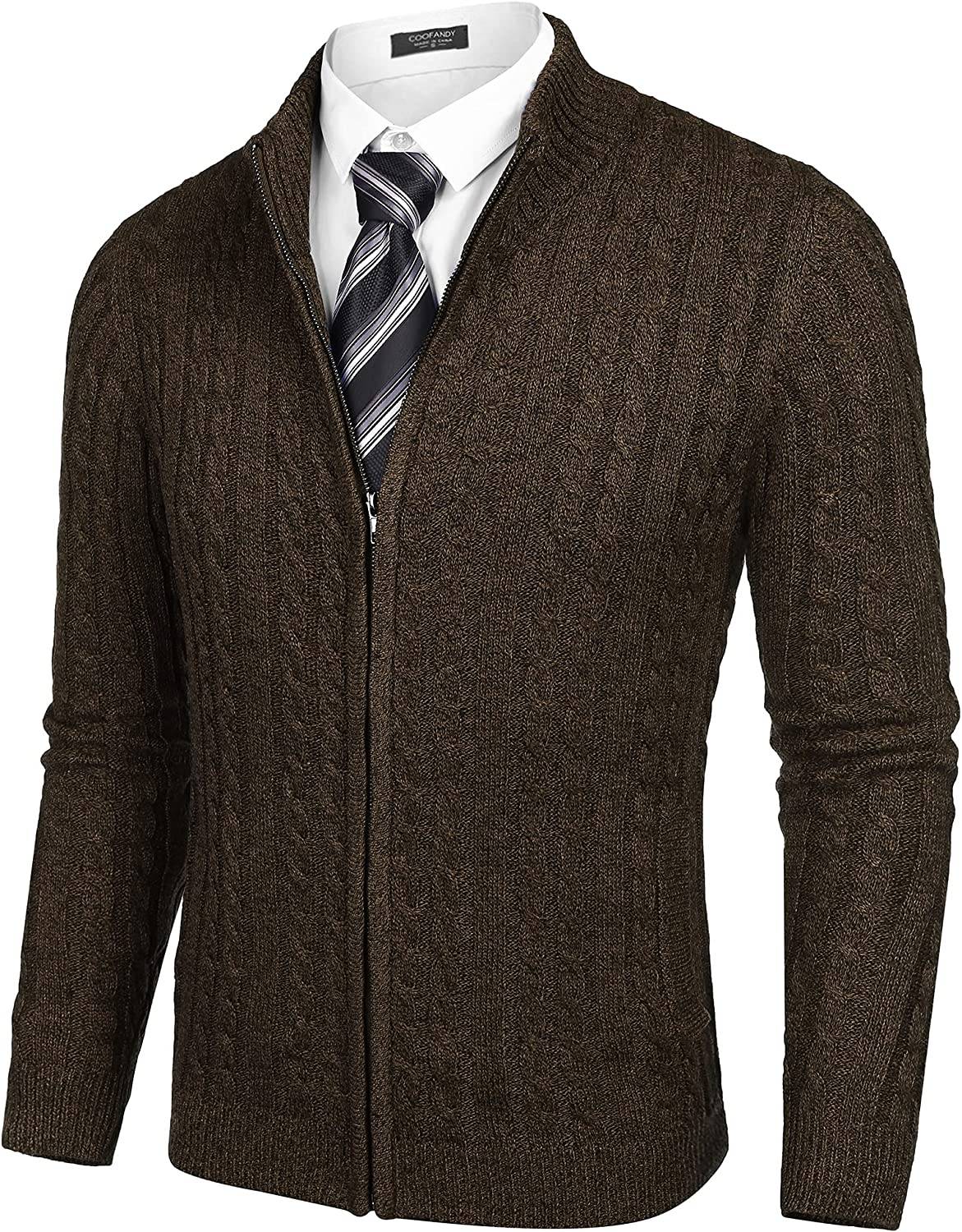 COOFANDY Men's Full Zip Cardigan Sweater Slim Fit Cable Knitted Zip Up Sweater with Pockets
