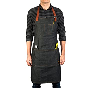 Vulcan Workwear Utility Apron - Multi-Use Shop Apron with Pockets - Lightweight Denim Tool Apron