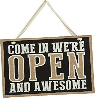 Primitives by Kathy Hanging Business Sign, 14-Inch-by-9-Inch, Open/Closed