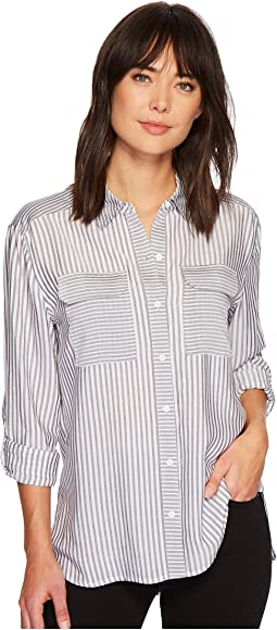 TWO by Vince Camuto - Long Sleeve Roll Tab Mix Stripe Two-Pocket Shirt