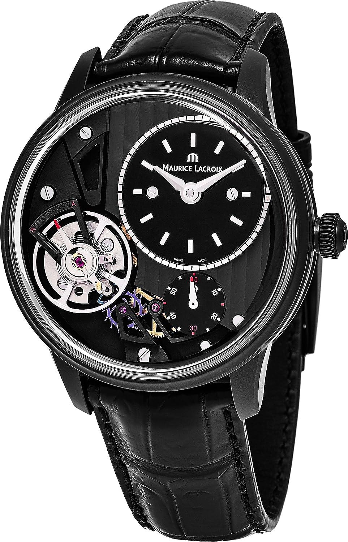 Maurice Lacroix Obra Maestra Gravedad Reloj Esfera de Color Negro Abierto 43mm Maurice Lacroix Reloj para Hombre–Negro Piel Banda Reloj automático Suizo mp6118-pvb01–330–1