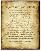 I Carry Your Heart With Me Poem by E.E Cummings Home Decor Wall Art Poetry Gift 8x10 Antique Style Print