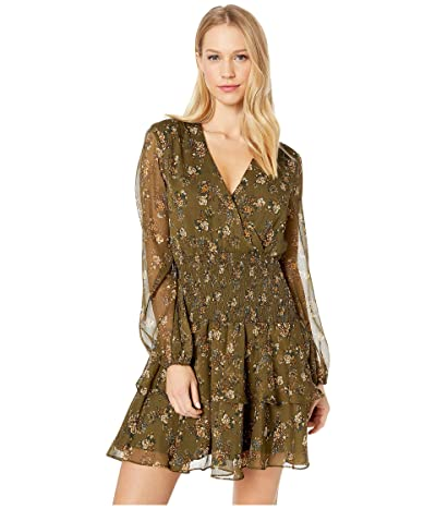 Bardot Ditsy Shirred Dress (Khaki Floral) Women