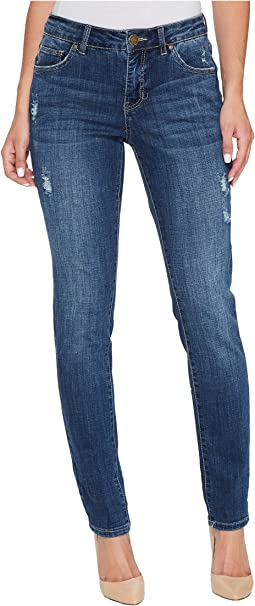 Carter Girlfriend Crosshatch Denim Jeans in Thorne Blue w/ Destruction
