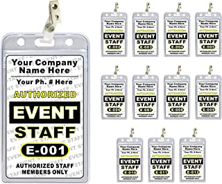 Event Staff ID Badge Set (12 pcs) - PVC Plastic {Custom Printed with Your Company Name} 12 pcs - Badge Holders & Clips Included - Made in The USA