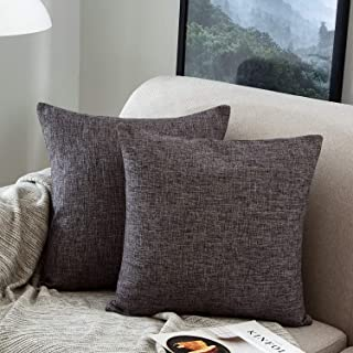 MERNETTE Pack of 2, Cotton Linen Blend Decorative Square Throw Pillow Cover Cushion Covers Pillowcase, Home Decor Decorations for Sofa Couch Bed Chair 18x18 Inch/45x45 cm (Dark Grey)