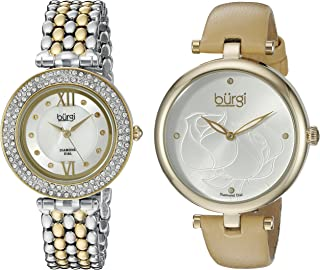 Burgi Women's BUR152YG Silver Quartz Watch Set Including BUR151YG And BUR126TTG
