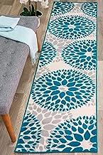 "Modern Floral Circles Design Runner Rug 2' X 7' 2"" Blue"