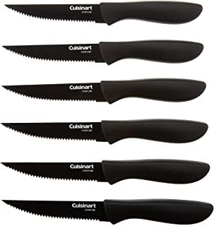 Cuisinart C55-6PCSBK Advantage Color Collection 6-Piece Ceramic Coated Steak Knife Set, Black