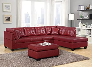 GTU Furniture Pu Leather Living Room Furniture Sectional Sofa Set in Black/Red (Without Ottoman, Red)