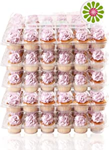 (24 Pack x 5 Sets) STACKnGO Carrier Holds 24 Standard Cupcakes - Strongest Cupcake Boxes, Tall Dome Detachable Lid, Clear Plastic Disposable Containers, Storage Tray, Travel Holder, Regular Muffins