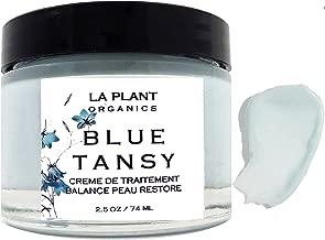 CALMING Organic Blue Tansy Face Cream with Shea, Pomegranate, Squalane (olive) and Jojoba Balances & Restores Skin with Vitamins Minerals, Antioxidants, Fatty Acids Face Balm (1 OZ)