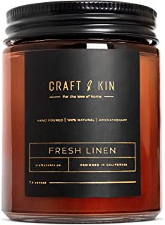 Fresh Linen Candle   Premium Scented Candles for Men & Women   Spring Candles   All-Natural Soy Candles, Rustic Home Decor...