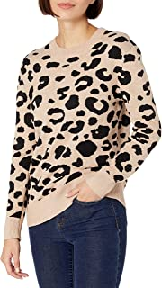 Marchio Amazon - Daily Ritual - Ultra-soft Leopard Jacquard Crewneck Pullover Sweater, pullover-sweaters Donna