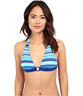 LAUREN Ralph Lauren - Sunset Stripe Ring Front Halter w/ Removable Cup