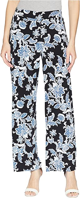 Woodblock Floral Wide Leg Pull-On Pants
