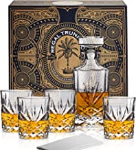 Classic Crystal 5 Piece Whiskey Decanter Set in a Spectacular Gift Box - Lead Free Crystal Glass Whiskey Decanter with 4 Whiskey Glasses | Bourbon Scotch Liquor Dispenser - Diamond Cut Design