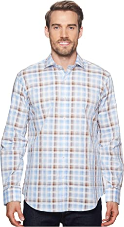 Shaped Fit Long Sleeve Plaid Woven Shirt