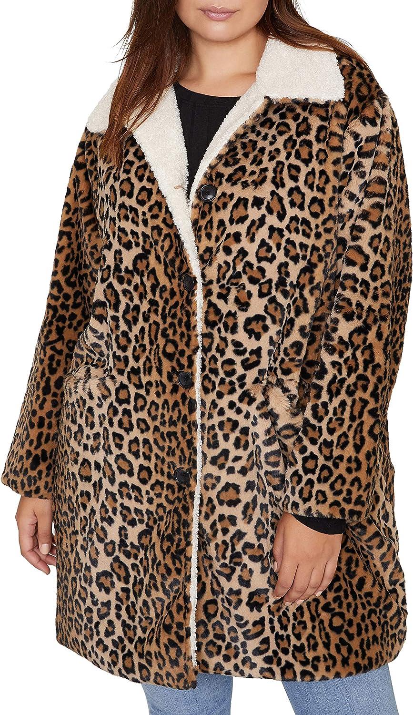 Sanctuary Womens Plus Sierra Winter Faux Fur Coat Brown 3X