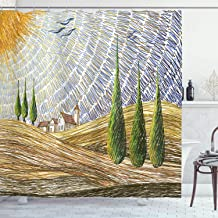 Ambesonne Italian Shower Curtain, Van Gogh Style Italian Valley Rural Fields with European Scenery Painting Print, Cloth Fabric Bathroom Decor Set with Hooks, 75 Long, Yellow Green