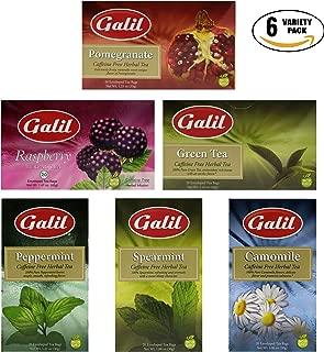 Herbal Tea Caffeine Free Tea, Peppermint, Spearmint, Camomile, Green Tea, Pomegranate, Camomile, Raspberry Tea Variety Pack! (Pack of 6, Total of 120 Enveloped Tea Bags