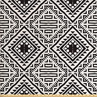 Lunarable Black and White Fabric by The Yard, Pattern with Doodle Elements Geometric Art Print, Decorative Fabric for Upholstery and Home Accents, 1 Yard, Black White