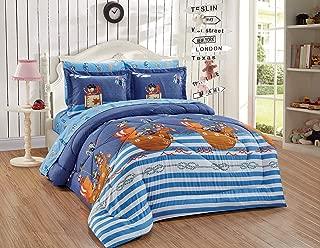 5pc Twin Size Comforter Set Pirates Beddisng Set Blue Brown red Ahoy Ship Sailboat Anchor Ocean Treasure Sailaway Kids/Teens New