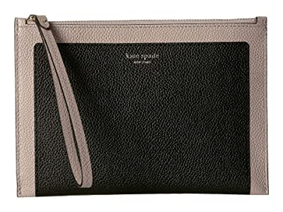 Kate Spade New York Margaux Small Wristlet (Black/Warm Taupe) Clutch Handbags