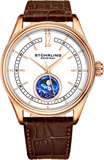 MoonPhase Dress Watch - Stainless Steel Case and Leather Band - Analog Dial - Celestia Mens Watches Collection