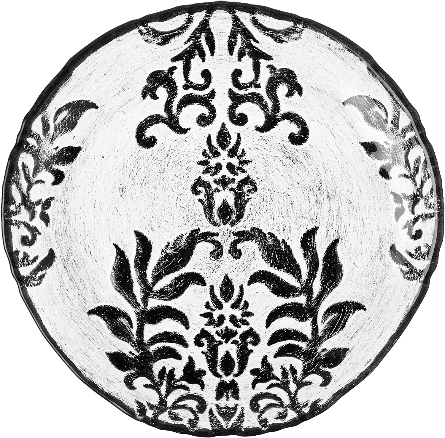 Red Pomegranate Damask Mail 5 ☆ very popular order cheap Canape 6.5-Inch Velvet Black Plate