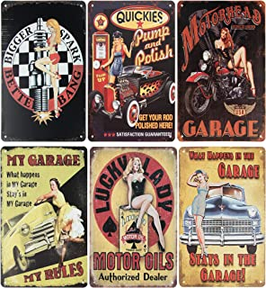 Juvale 6-Piece Tin Signs - Vintage Style Metal Signs As Wall Decor, Decorative Retro Coffee Bar Sign, Pin-up Girls, Sexy Garage Ladies, 11.8 x 8 Inches