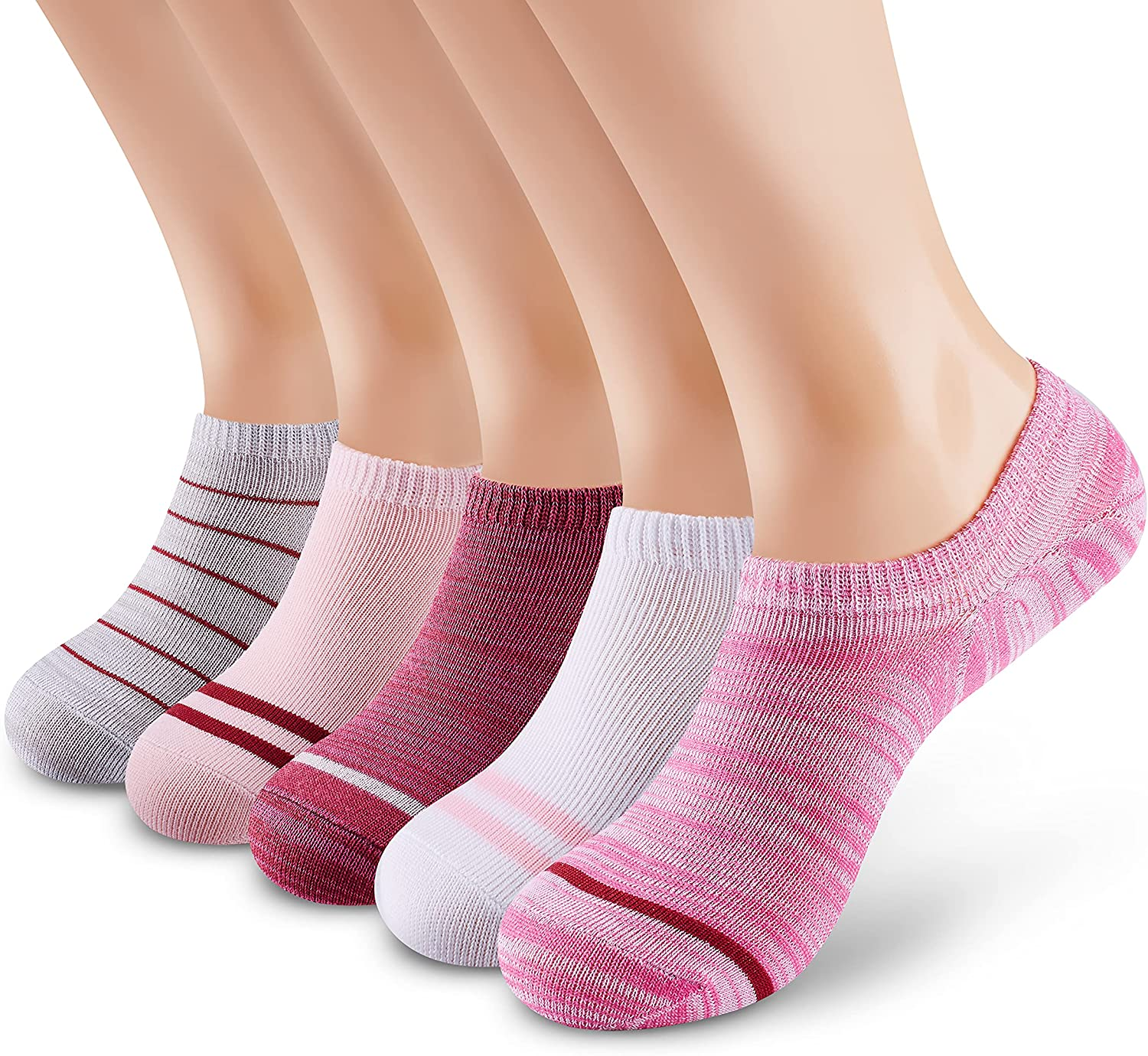 M MONFOOT 5-10 Pairs Slim Fit or Cushion Non-Slip No Show Socks for Men and Women