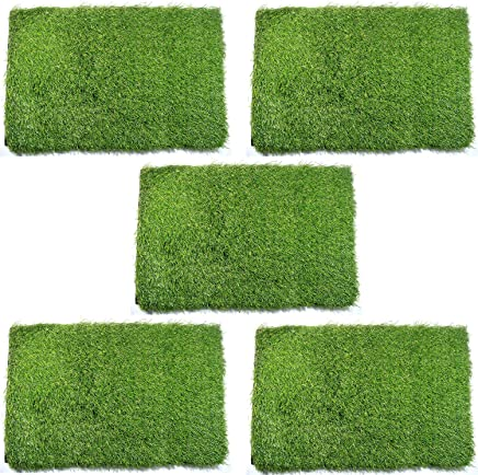 Hand Tex Home Artificial Soft and Durable Green Grass (40x60cm)-Set of 5