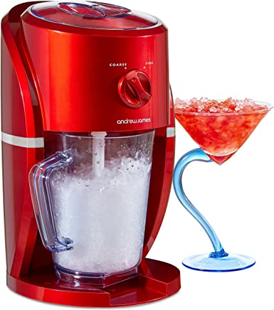 Andrew James Ice Crusher Slush Machine | Electric Crushed Ice Maker for Slushies Cocktails & Smoothies for Home Use | Stylish Retro Design | 1L BPA Free Plastic Jug & Built in Stirrer | 25W | Red