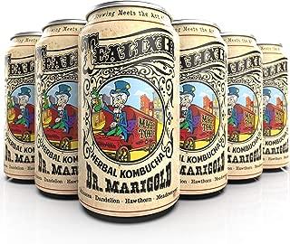 Tealixir Herbal Kombucha Tea - Dr Marigold - Inspired By North American Folk Medicine, This Herbal Tonic Features Echinacea, Dandelion, Hawthorn and Meadowsweet, Probiotic, Vegan, 12 PACK
