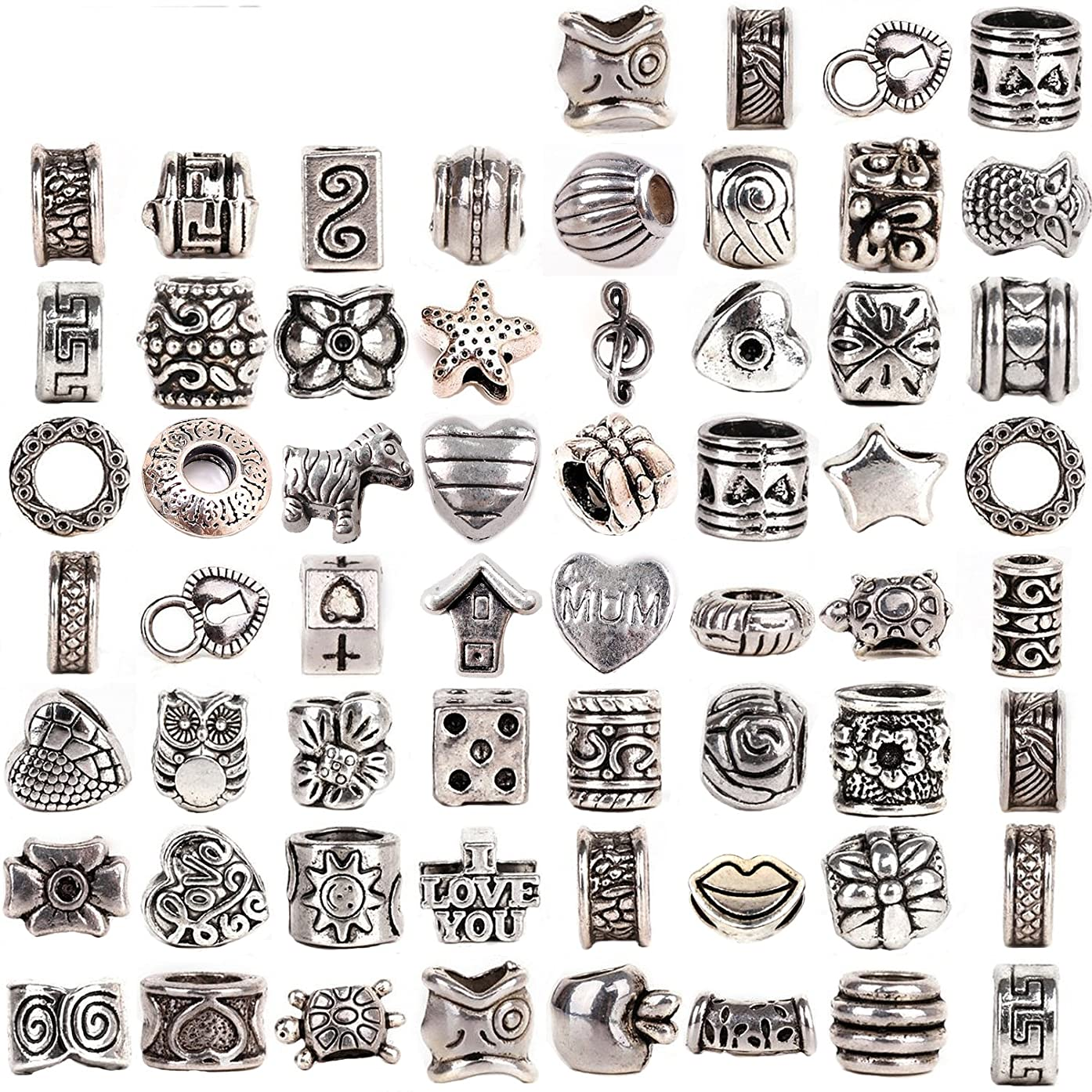 RUBYCA Tibetan Silver Tone Color Spacer Loose Beads Fit European Charm Bracelet Mix 120 Pcs Lot For DIY