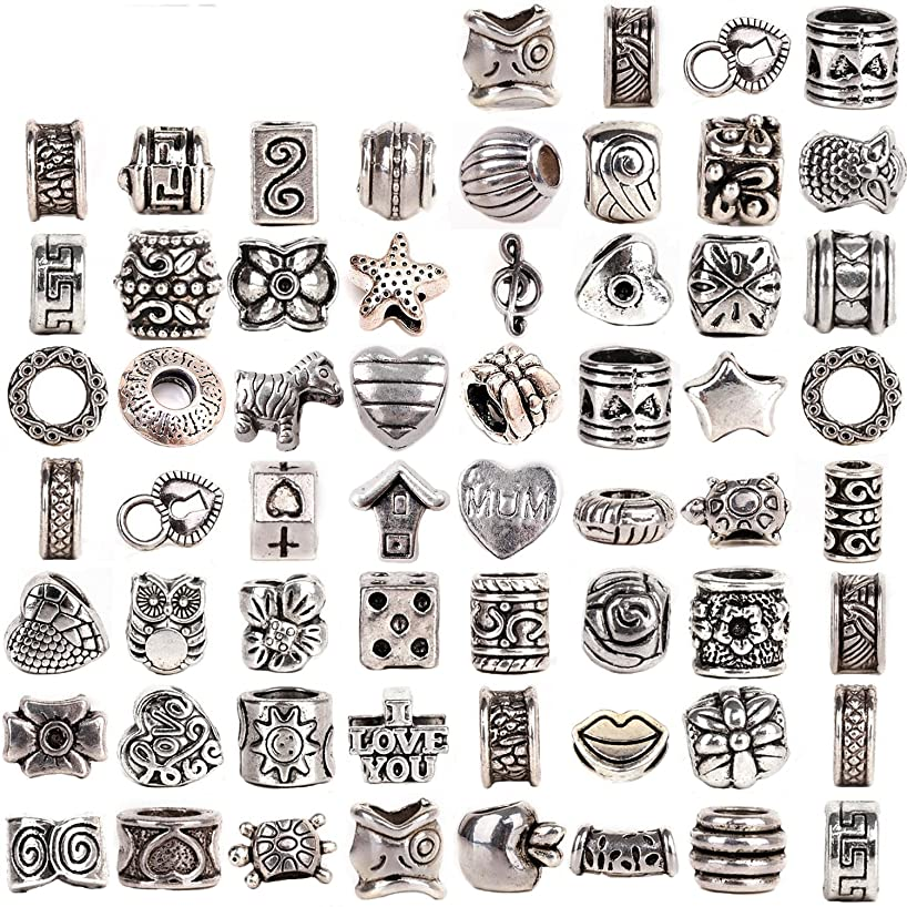 RUBYCA Tibetan Silver Tone Color Spacer Loose Beads Fit European Charm Bracelet Mix 120 Pcs Lot For DIY