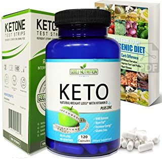 Best Keto Diet Pills 120 Capsules with Ketone Test Strips- and Colorful EGuide Helps Burn Fat and Suppress Appetite That Works Fast Women and Men