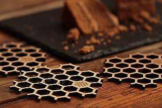 BU Products - Bamboo Honeycomb Coasters Set, Eco-Friendly Dinnerware, Natural Wood, Square Beer or Mug Mats (Hexagonal)