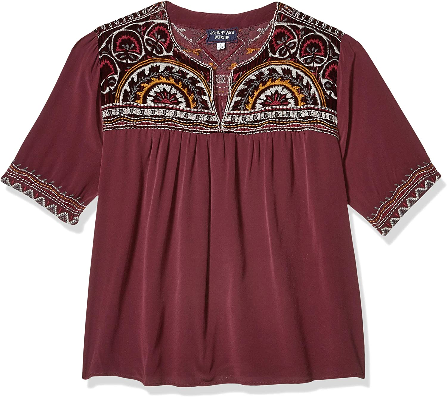 3J Workshop by Johnny Was Women's Silk Embroidered V Neck Crop Blouse Bordeaux