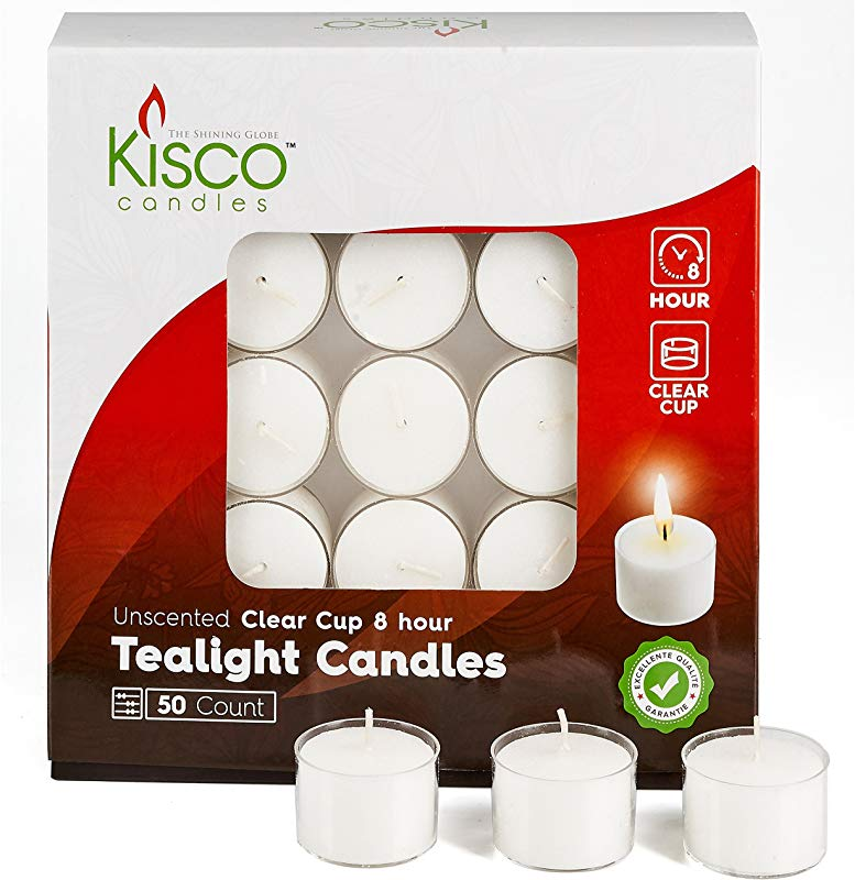 Kisco Clear Cup White Unscented Tea Light Candles 8 Hour Long Burning Tealight Votive Candles Bulk Candles Pack Of 50 For Holiday Wedding And Home Decoration