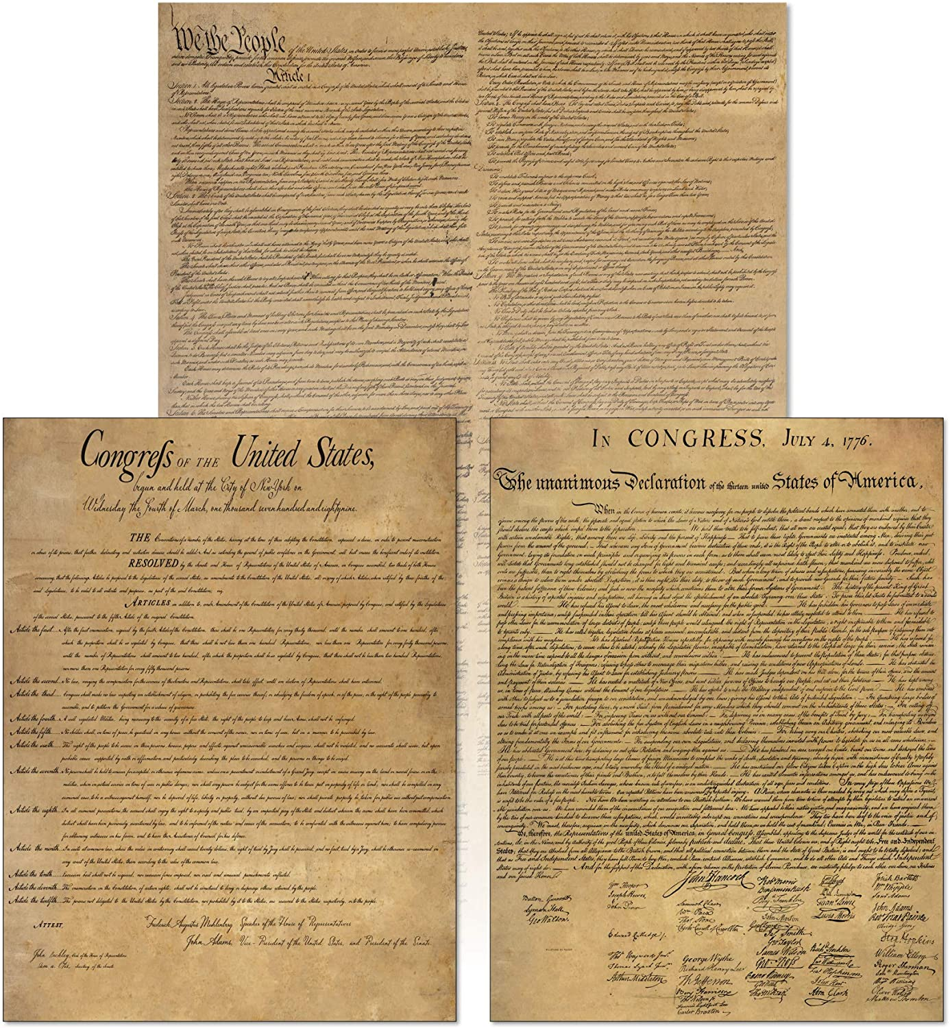 American Founding documents Laminated 3 pack: US Constitution, Declaration of Independence and Bill of Rights reproduction Young N Refined