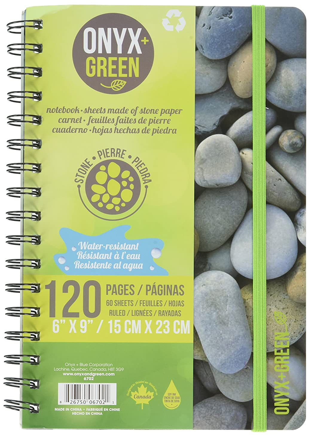 Onyx and Green Notebook, 6 x 9 Inches with Elastic Closure, 60 Ruled Sheets, Stone Paper, (6702)